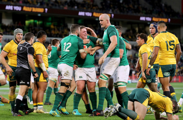 Tadhg Furlong celebrates scoring his sides second try with Devin Toner and Robbie Henshaw