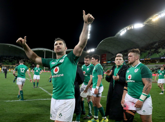 Rob Kearney applauds the supporters after the game