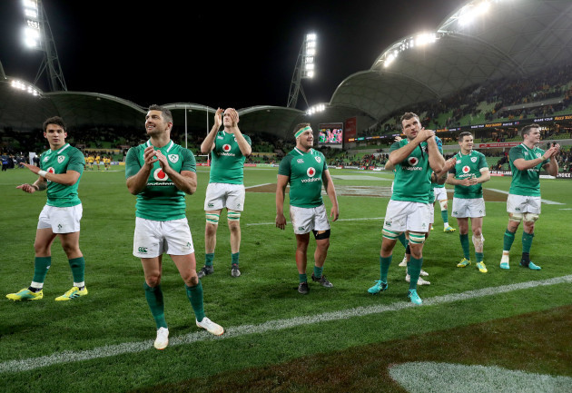 The Ireland players applaud the supporters after the game