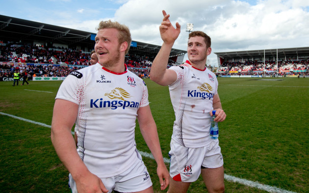 Paddy Jackson and Stuart Olding celebrate after the game