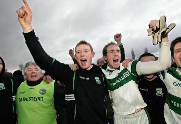 Manager John Mulligan celebrates with Brian Glynn and Jack Fennell