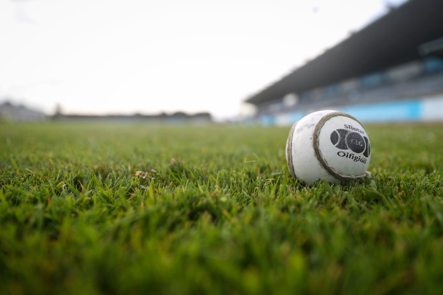 A detailed view of a sliotar at Parnell Park