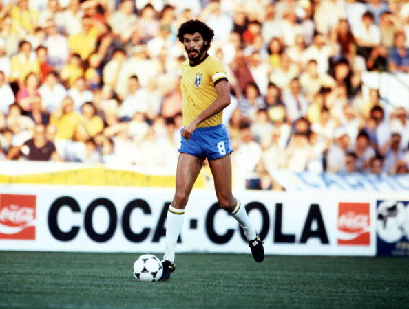 1982 World Cup Finals. Seville, Spain. 23rd June, 1982. Brazil 4 v New Zealand 0. Brazil's Socrates
