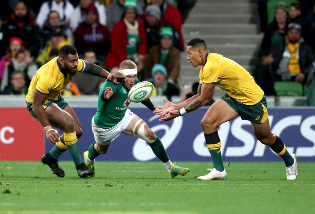 Israel Folau competes for a ball with Keith Earls