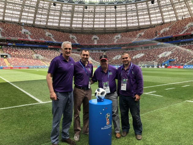 George Mullan, Ilyas Kobal MD SIS EE, Alan Ferguson Consultant for SIS, Maxim Radomsky Head Groundsman Luzhniki stadium. (1)