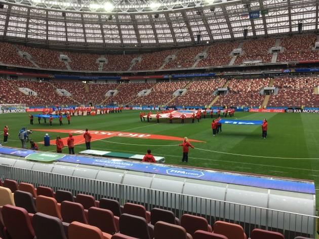 Preparation for Opening Ceremony at Luzhniki Stadium