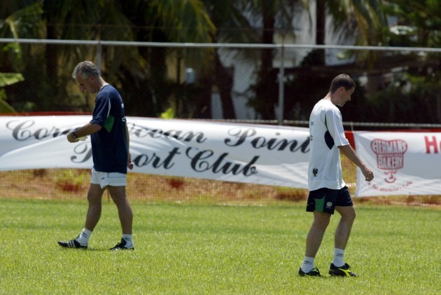 Mick McCarthy and Roy Keane at training