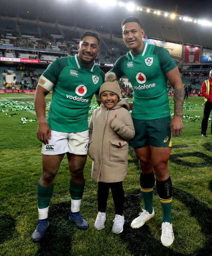 Bundee Aki with his daughter Adrianna and Israel Folau after the game