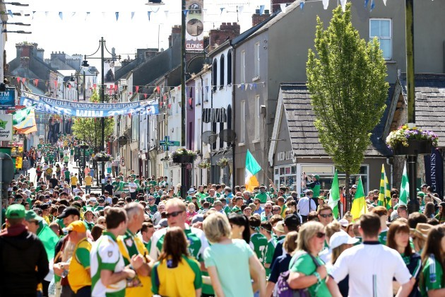 Fans before the match in Clones