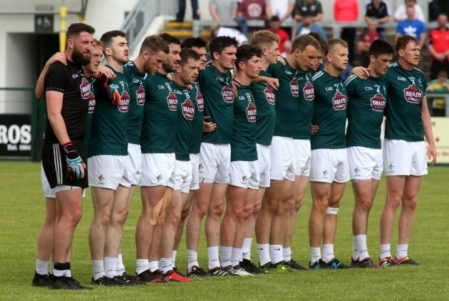 The Kerry team stand for the National Anthem