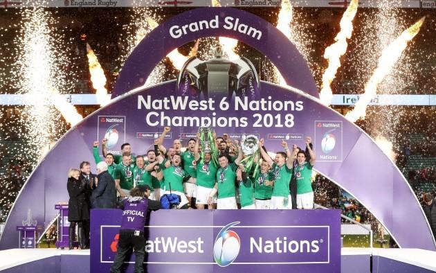 The Ireland team celebrate winning the Grand Slam