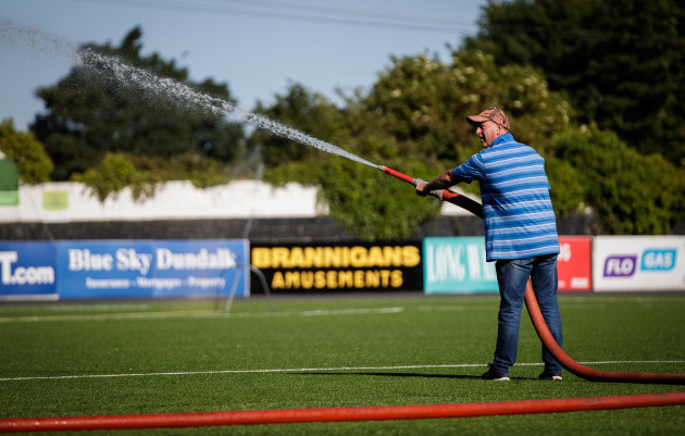 The pitch is watered