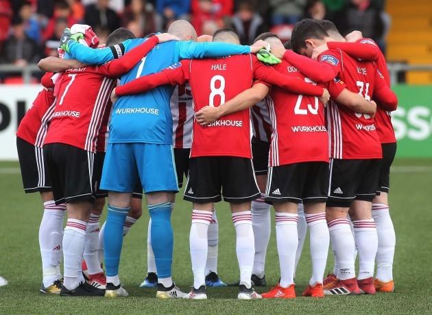 Derry team huddle