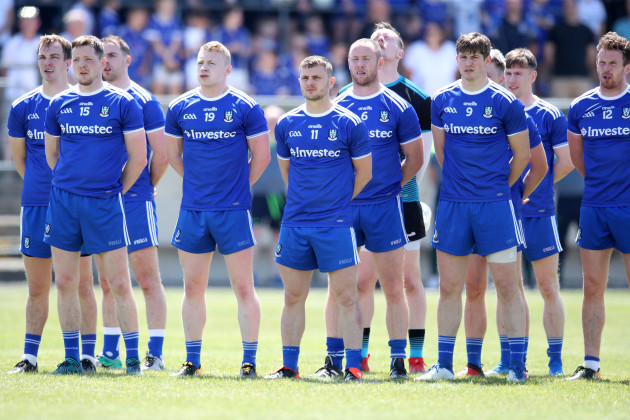 Monaghan team during the national anthem