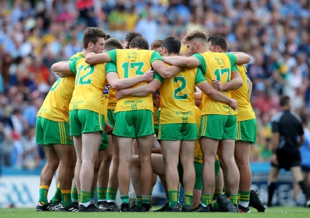 Donegal team huddle before the match