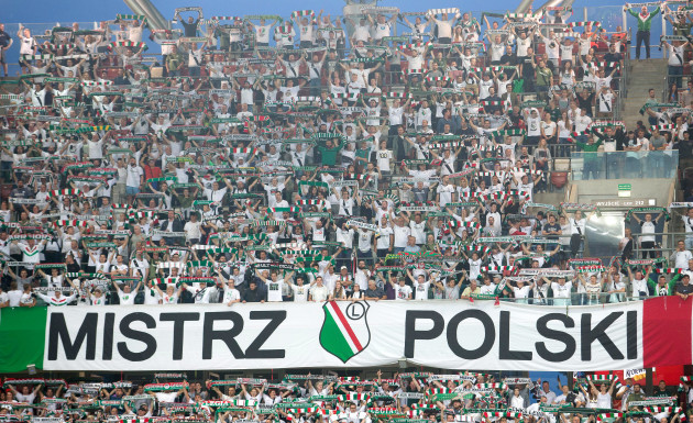 Legia fans during the game