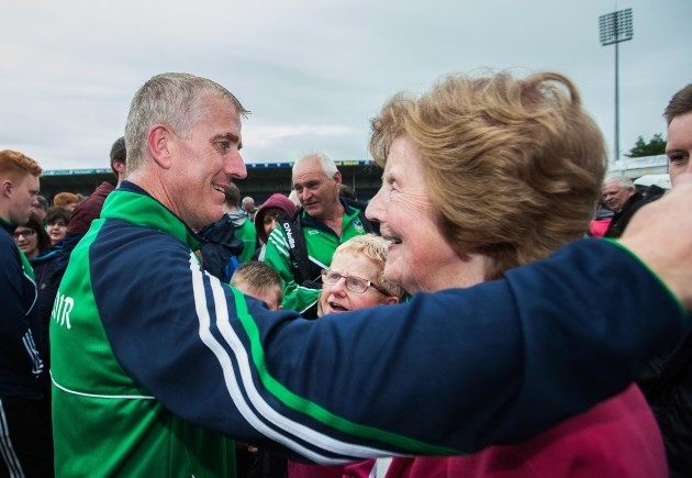 John Kiely celebrates after the game with his mother Breda