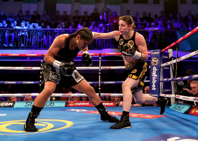 Jessica McCaskill in action against Katie Taylor