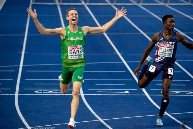 Thomas Barr celebrates winning bronze