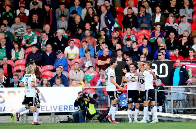 Jonathan Levi celebrates scoring their second goal with his teammates