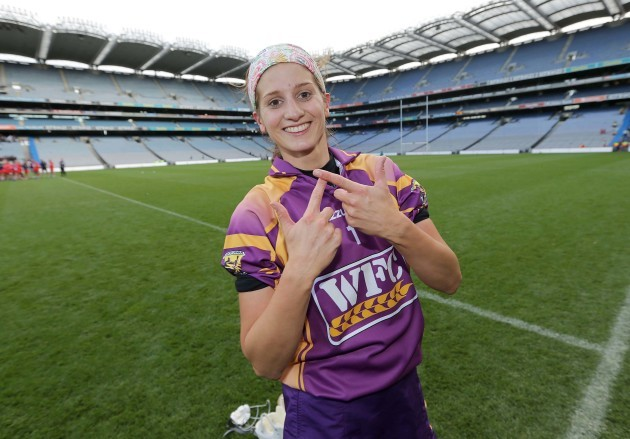 Mags D'Arcy celebrates winning a third successive All-Ireland title
