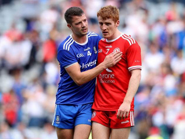 Peter Harte with Ryan Wylie of Monaghan after the game