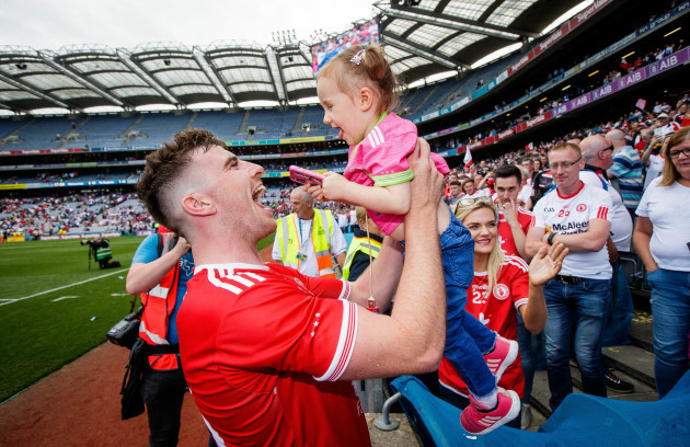 Connor McAliskey celebrates with his niece Grace Colhoun 12/8/2018