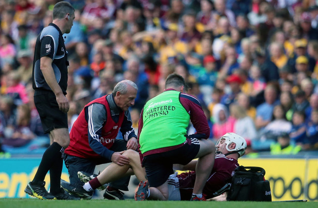 Joe Canning receives medical attention