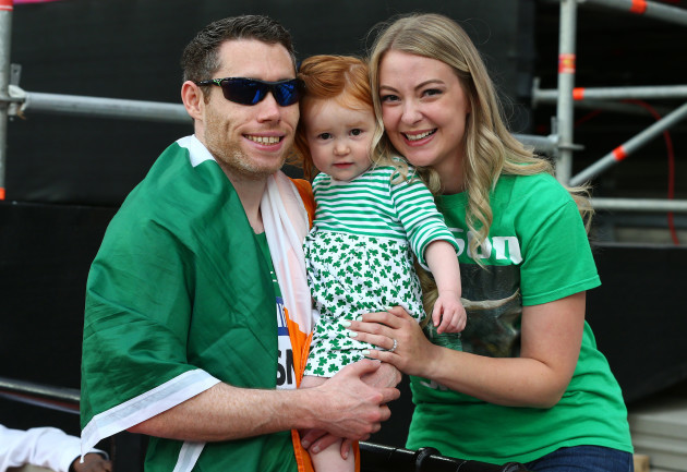 Jason Smyth celebrates with his wife and daughter Elise and Evie