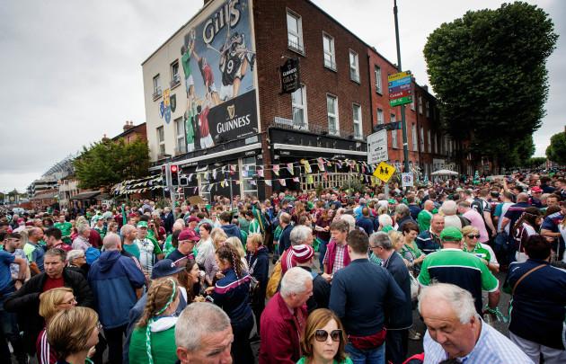 Fans outside Gills pub