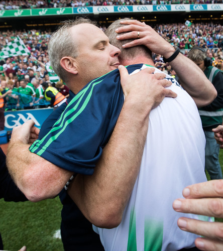 John Kiely with Michael Donoghue at the final whistle