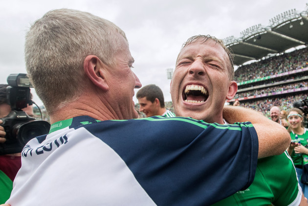 John Kiely celebrates after the game with Shane Dowling