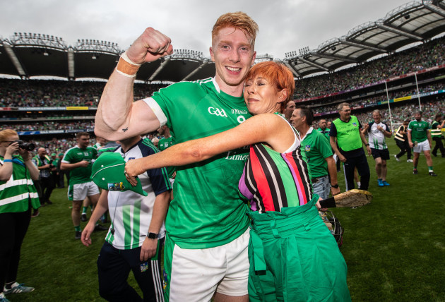 Cian Lynch celebrates with his mother Valerie celebrate after the game