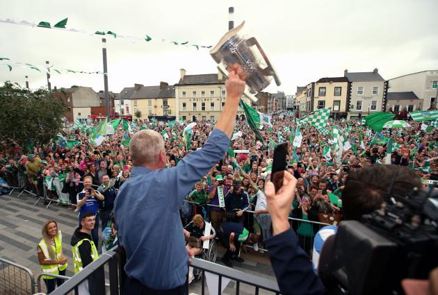 John Kiely lifts the Liam MacCarthy Cup