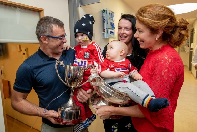 Niall and Mairead with Barra (2) and 8 month old Rua Buckley meet Aisling Thompson