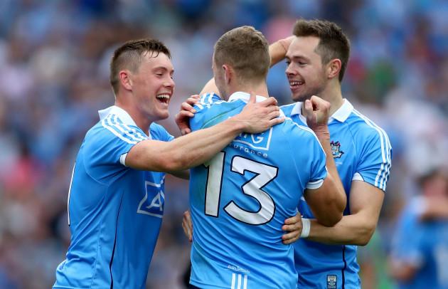 Con O'Callaghan, Paul Mannion and Dean Rock celebrate