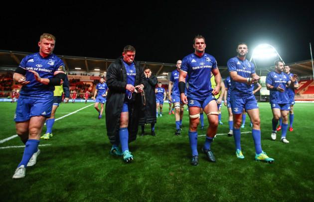 James Tracy, Tadhg Furlong, Rhys Ruddock, Robbie Henshaw and Cian Healy dejected