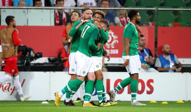 Aiden O'Brien celebrates scoring his sides first goal with teammates