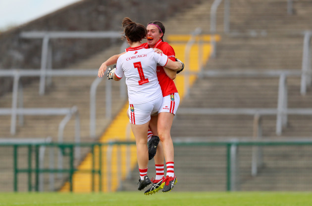 Martina O'Brien celebrates at the final whistle with Hannah Looney