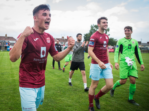 Stephen Christopher, Liam Cronin and Adam Mylod celebrate after the game