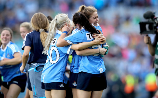 Sinead Finnegan and Sinead Goldrick celebrate at the final whistle