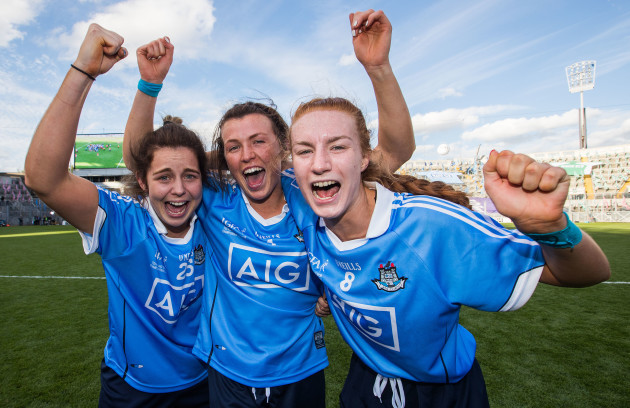 Katie Murray celebrates after the game with Leah Caffrey and Lauren Magee