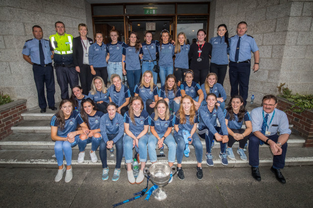 The Dublin team with members of staff outside Our Lady's Children's Hospital, Crumlin