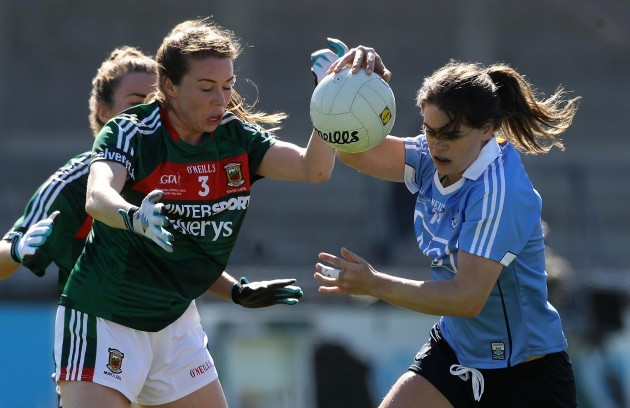 Noelle Healy tackled by Sarah Tierney