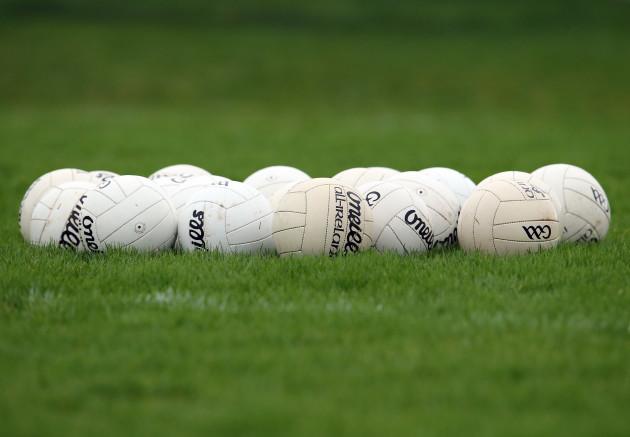 General view of Gaelic footballs