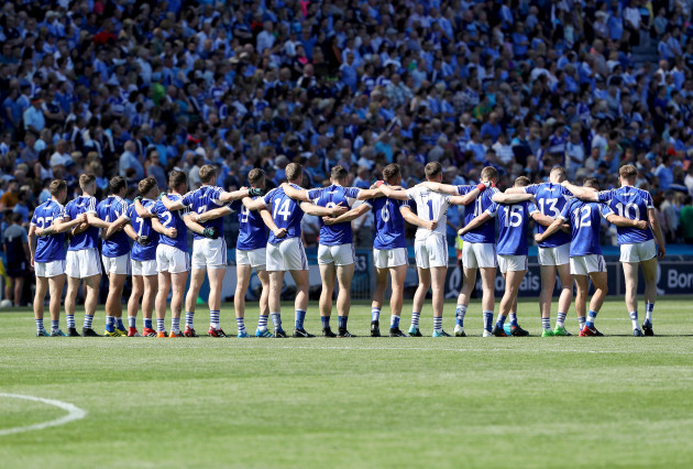 Laois team during the national anthem
