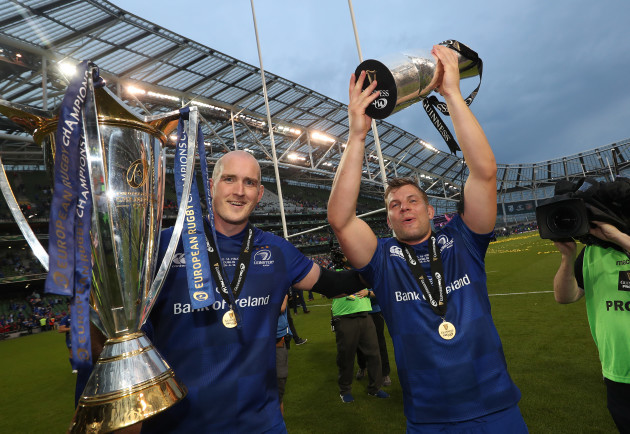Leinster's Devin Toner and Jordi Murphy  after the match