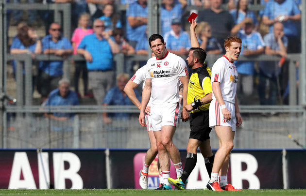 Sean Cavanagh is shown a red card by Referee David Gough