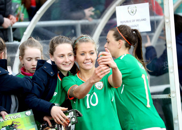 Denise O'Sullivan with fans after the game