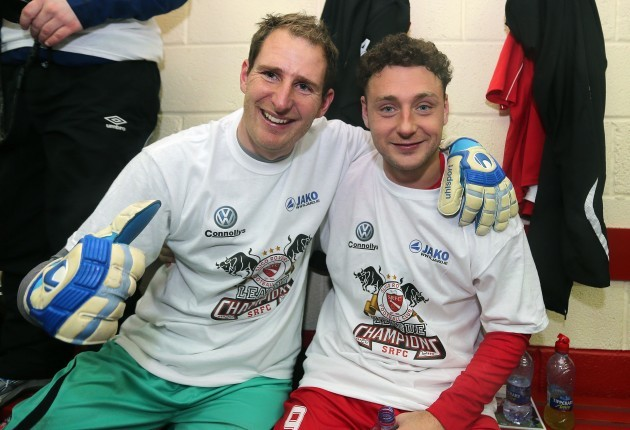 Gary Rogers and Mark Quigley celebrate after the game